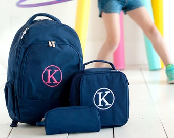 Embroidered navy blue Backpack, navy blue Pencil Case, navy blue lunch bag, navy blue Backpack Set, Back to School, Unisex Backpack Set