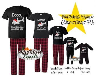 matching family christmas pajamas funny pajamas shark pajamas doo doo red pajamas holiday pajamas personalized pjs christmas pjs