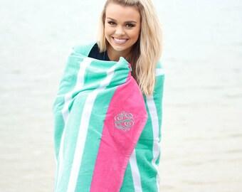 Personalized Beach Towel, Mint Stripe Towel, Beachy Keen Towel, Monogrammed Beach Towel