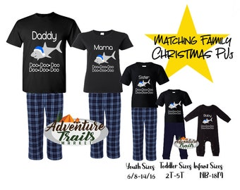 matching family christmas pajamas funny pajamas shark pajamas doo doo monogram pajamas holiday pajamas personalized pjs christmas pjs