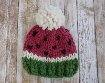 Watermelon Wool Hat Pompom - Chunky Knit Photo Shoot Prop - Newborn, Baby, Child