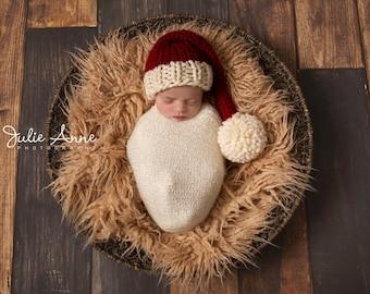 cf7eaeb82ef Christmas Santa Chunky Knit Stocking Cap Wool Hat - Photography Shoot Prop  - Newborn