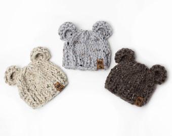 d4dffce1b9e Bear Ears Hat - Chunky Knit Photo Prop - Newborn