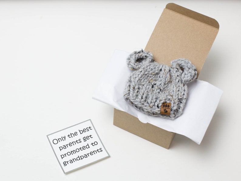 Surprise Dad To Be Family Friends Bear Hat Pregnancy Announcement In A Box Grandparent Baby Surprise Reveal