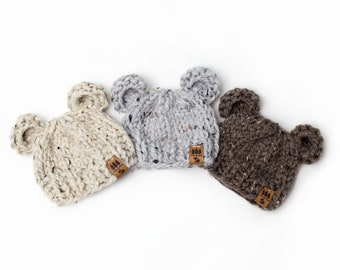 Bear Ears Hat - Chunky Knit Photo Prop - Newborn, Baby, Child - Wooden Button