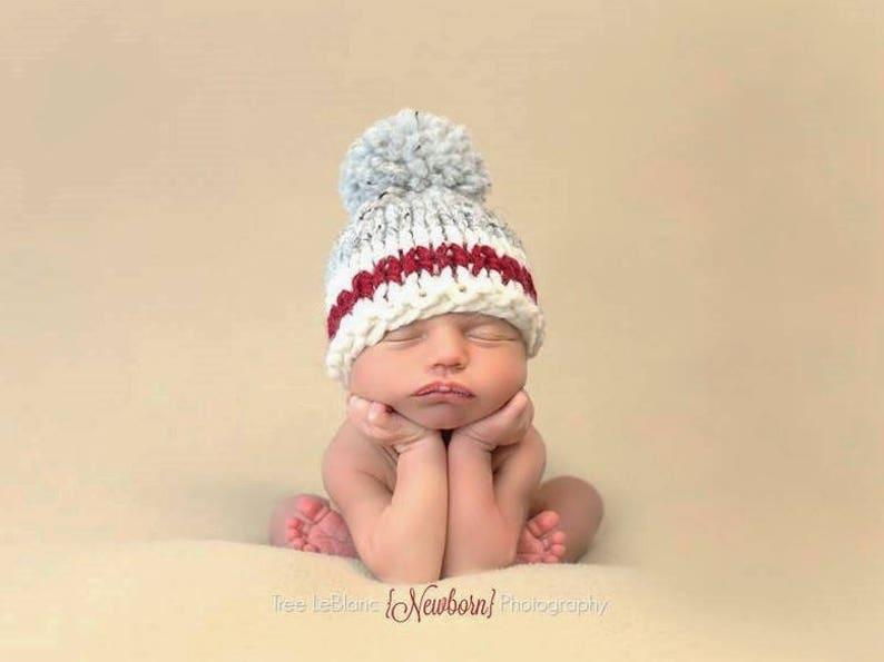 d06e955602f Chunky Mens Work Socks Inspired Baby Hat Knit Pompom Wool