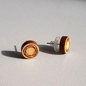 wanderlust travel Small wooden lasercut compass stud earrings \u2013 modern mini round earrings way finding