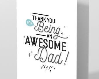 A5 Thank you father's Day card for being an awesome Dad!