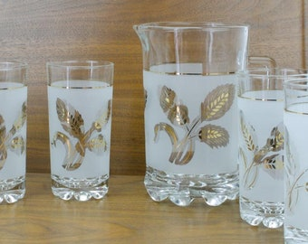 Frosted Gold Leaf Pitcher Set, Made in Italy