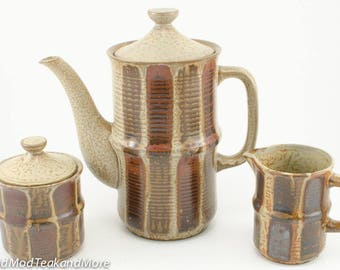 Ceramic Tea/Coffee Pot with Creamer and Sugar Bowl Made in Japan