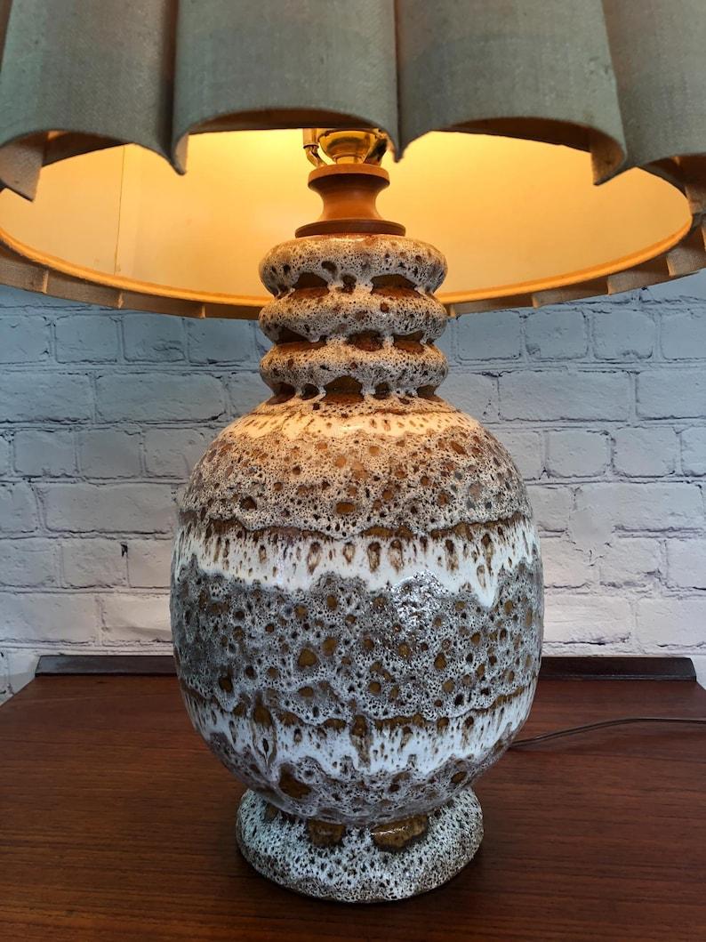 Maurice Chalvignac Art Pottery Table Lamp Fat Lava Table Lamp Mid Century Modern Table Lamp Mid Century Ceramic Table Lamp