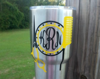 Hairdresser Hairstylist cosmetologist shears and comb decal with monogram/for car laptop yeti cup rtic orca ozark trail tumbler water bottle