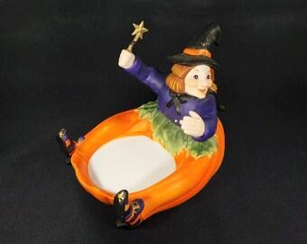 halloween decor witch partylite pumpkin witch candle holder