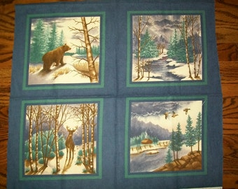 quilt, fabric - Winter Forest Flannels Panel, for Moda