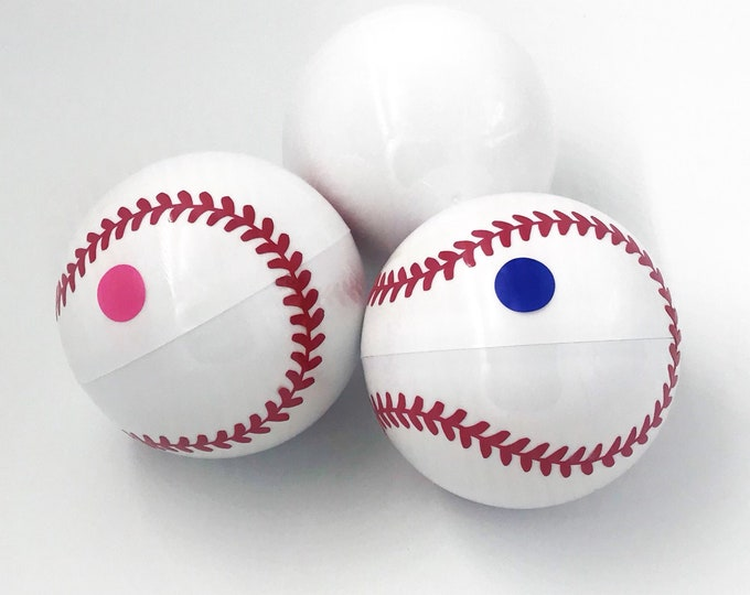 3 Gender Reveal Baseballs now with powder or powder and confetti! Handmade Gender Reveal Baseball! Includes a practice ball!