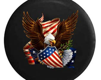 US United States Flag Stars /& Bars Home Edition Spare Tire Cover OEM Vinyl Black 32-33 in American Unlimited Gear