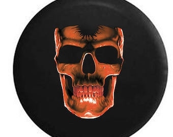 3D Cracked Grinning Skull Almost Glowing Purple Jeep RV Spare Tire Cover Black 32 in