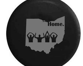 State of Michigan Great Lakes Detroit Home Edition Spare Tire Cover Vinyl Black 33 in American Unlimited Gear