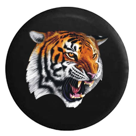 Striped Tiger Growling Jeep Tire Cover Fits Wrangler Rv Camper Etsy