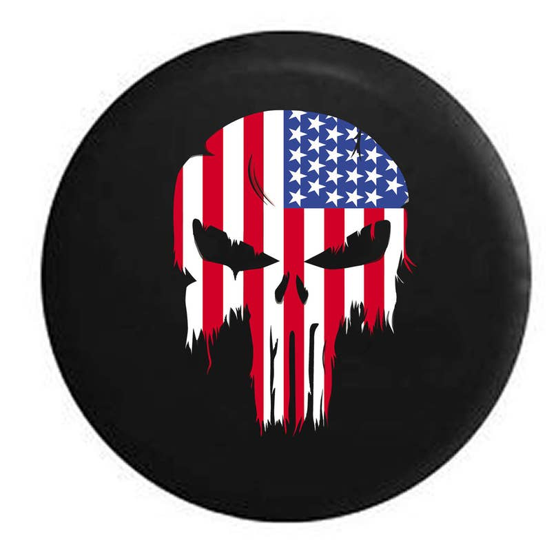 Punisher Skull Military Sniper Thin Blue Line Police Support Spare Jeep Wrangler Camper SUV Tire Cover 32 in Silver Back Covers