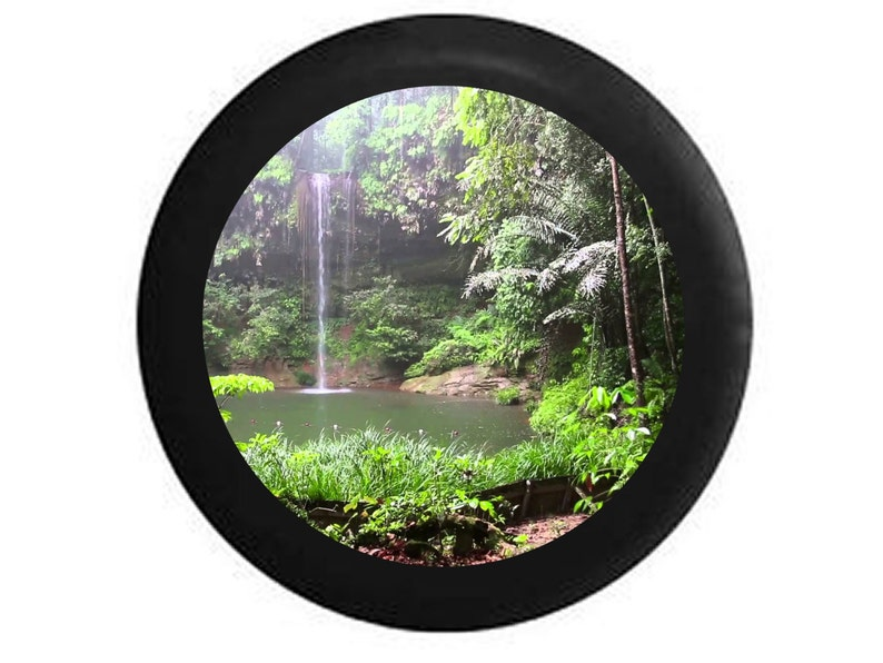 Full Color Jungle Rain forest Oasis Waterfall Hidden Lake Hiking Scene Jeep  Tire Cover fits Wrangler RV Camper r165