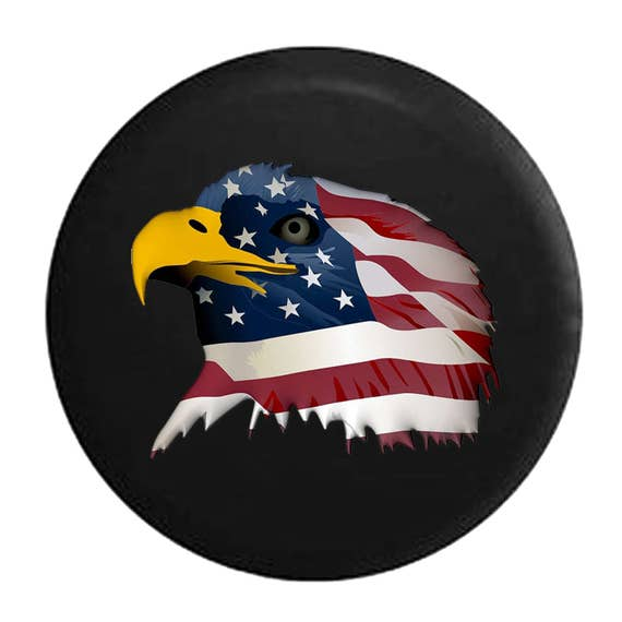Spare Tire Cover American Eagle Holding Skull Talons Fits Jeep Wrangler RV