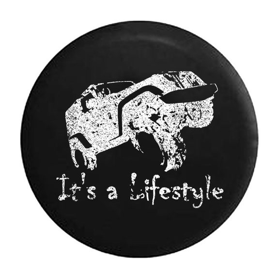 Distressed It/'s a Lifestyle Funny Jeep Wrangler Offroad Spare Tire Cover Black Spare Tire Cover Black 33 Inch American Unlimited