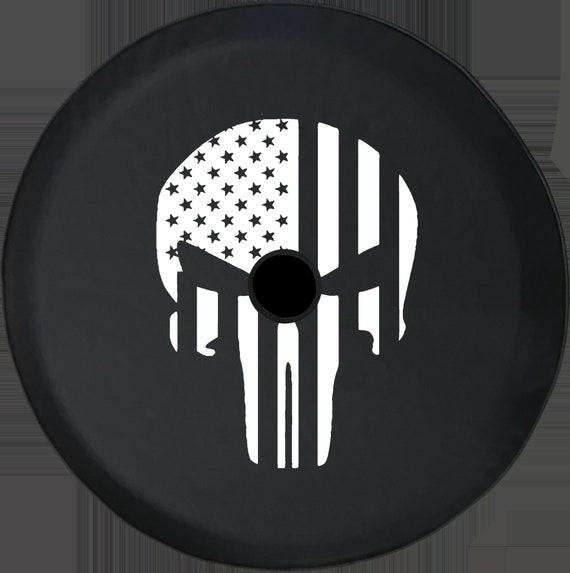 American Patriot Punisher Skull Dark Mini-Skulls Jeep RV Spare Tire Cover Black 33 in