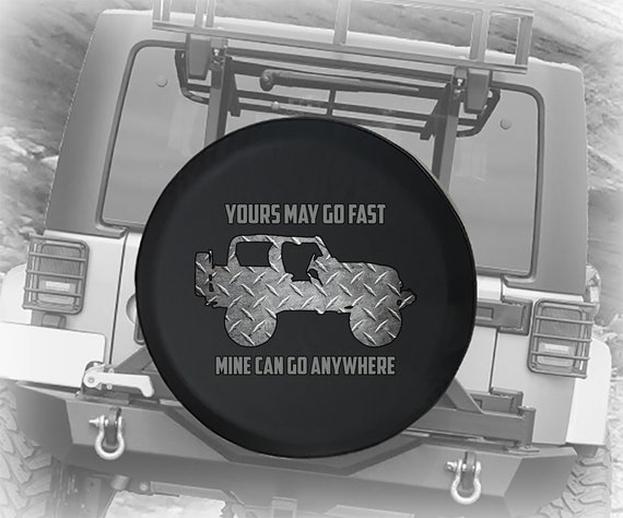 Made in the USA Black Denim Vinyl 32 Jeep Paws Spare Tire Cover - - White Print