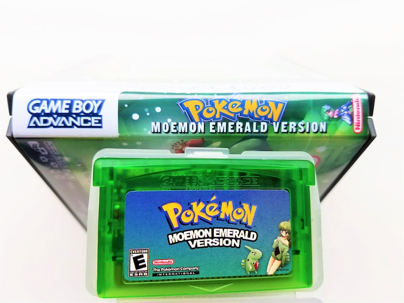 Pokemon Moemon Emerald + Custom Case GBA Gameboy Advance Anime Fan Made  Hack Edition