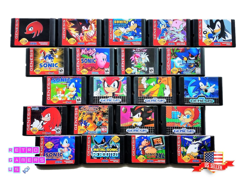 Sonic The Hedgehog Ultimate Fan Hack - 20+ Titles to Choose from Mega  Selection Sega Genesis (US SELLER) Reproduction Hack