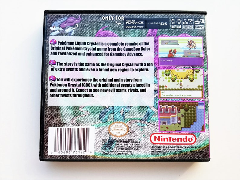 Pokemon Liquid Crystal Version w/ Custom Case (US Seller) Nintendo GBA  Custom English Fan Made Hack