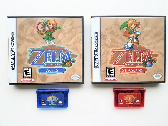 Legend of Zelda - Oracle of Seasons and Ages GBA Edition with Custom Case  Box Gameboy Advance (Enhanced GBC) USA Seller