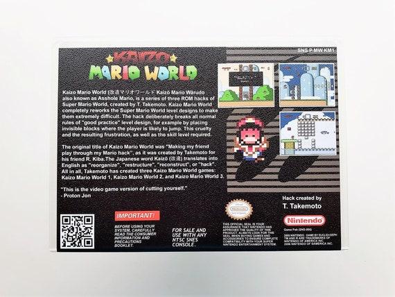Kaizo Mario World 1 - Game & Custom Case (Super Nintendo SNES) SMW Fan Hack  USA Seller - Custom Fan Made Hack