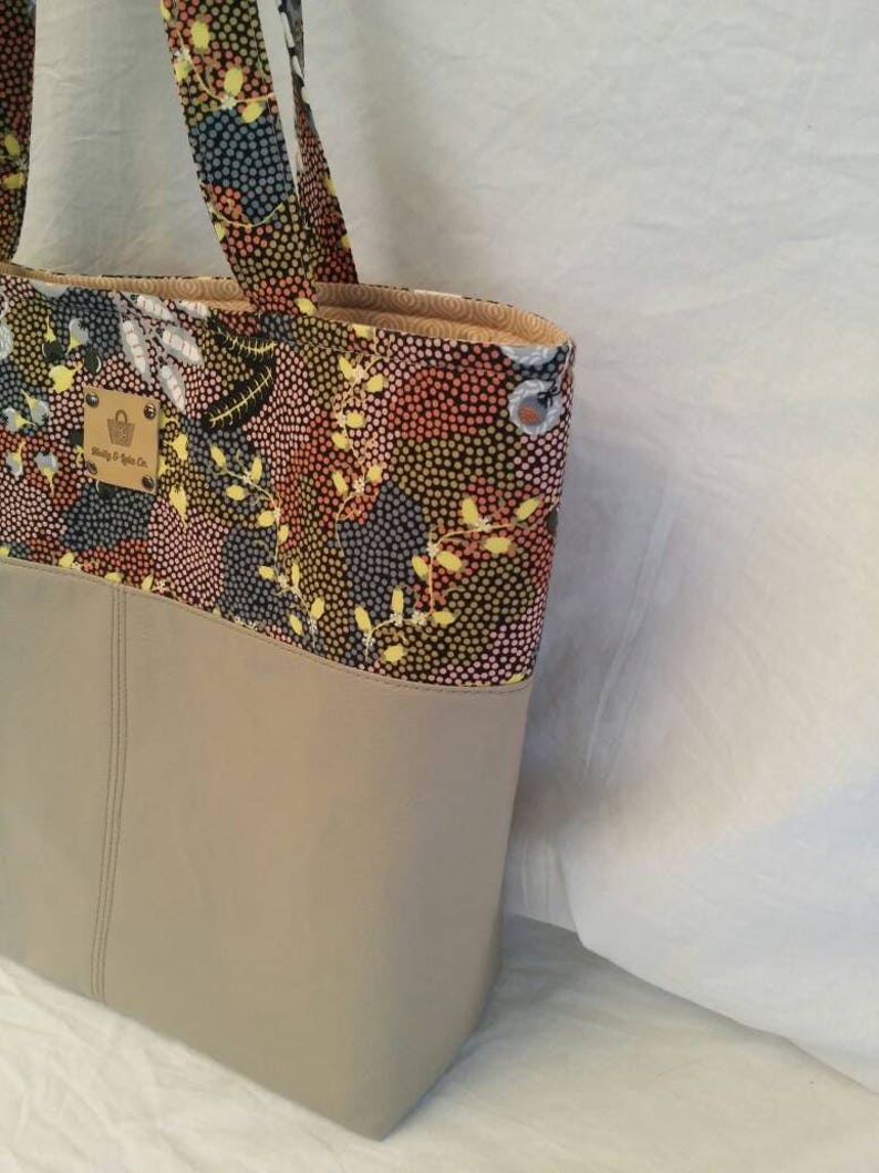 Vegan Leather ToteFaux Leather ToteLeather ToteTote Bag  Aboriginal Art ToteIndigenous ArtworkGifts for MumGifts for HerLeather Bag