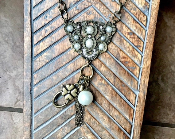 Chunky Chain, Antique Bronze, Pewter, Pearl Lanyard and/or Badge Holder