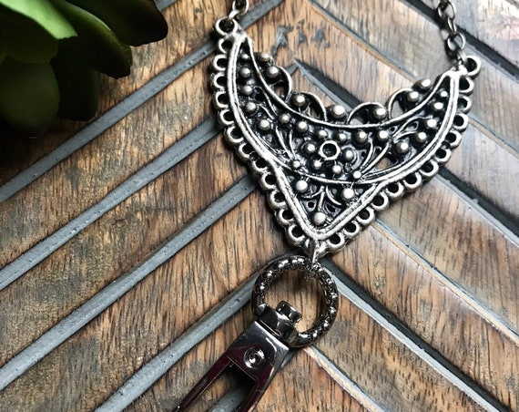 Hand Stamped Silver Filigree Badge Holder or Lanyard