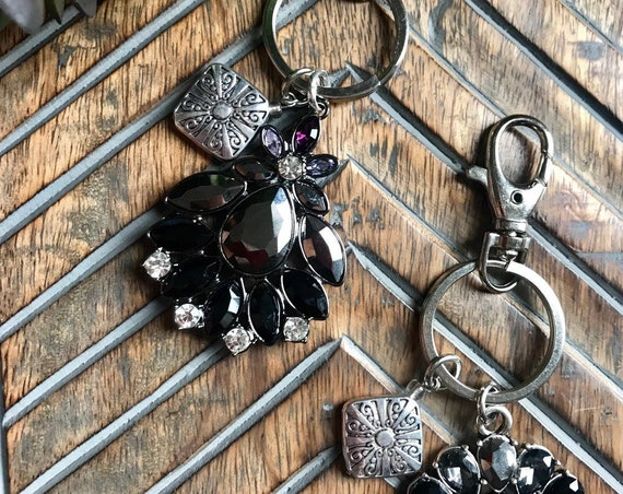 Black Crystal and Silver Keychains