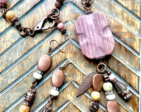 Copper and Blush Pink Beaded Necklace, Bracelet and Earring Set