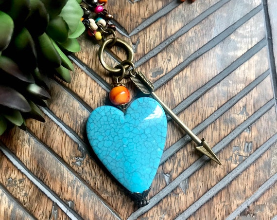 Long, Colorful Beaded Necklace, Large Blue Heart, Beonze Arrow, Orange Detail Necklace