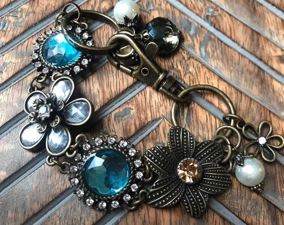 Antique Bronze, Pewter, and Blue, Flower Detail, Ornate Fashion Bracelet
