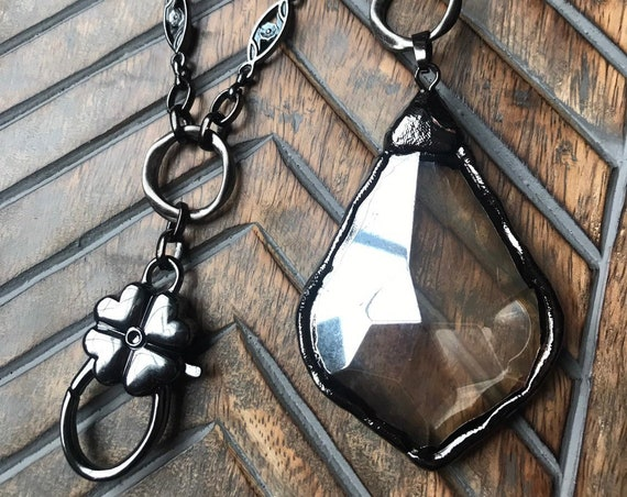 Black Chain with Rose Detail Lanyard and Badge Holder