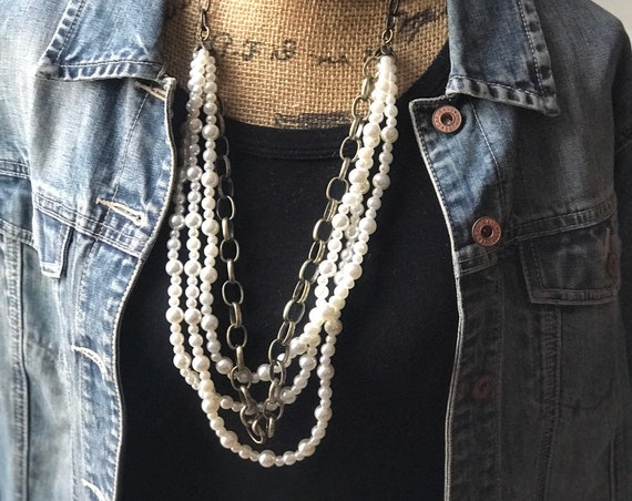 Long Multi Strand Pearl and Bronze Chain Necklace