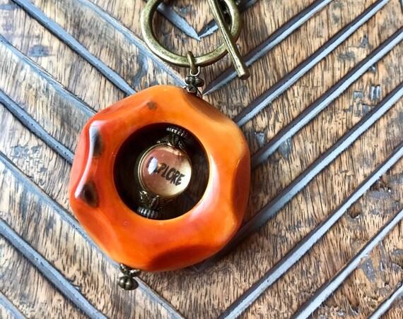 Large Orange Bead, Antique Bronze Toggle, Explore Nexcklace
