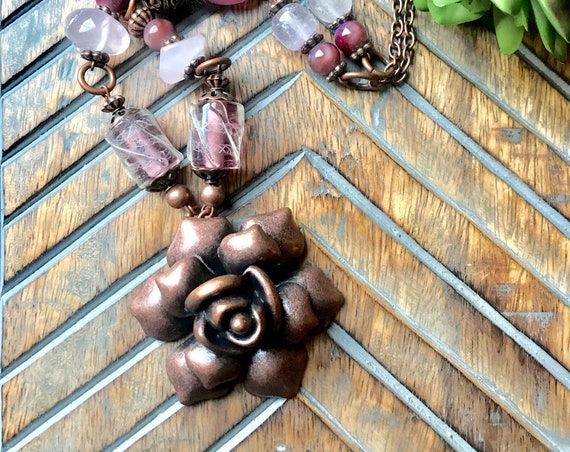 Large Copper Rose, Light Pink Beaded Necklace.