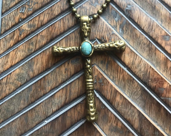 Pewter, Antique Bronze Cross with Turquoise Detail.