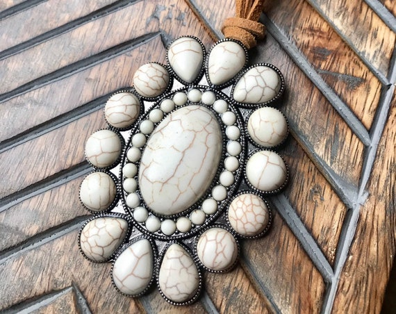 Large White, Western, Gypsy, Cowgirl Necklace on a Leather Band