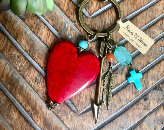 Large Red Heart, Turquoise Western Tassel Keychain