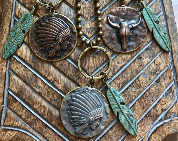 Antique Bronze, Turquoise Feather, Indian Chief, Buffalo Skull, Western Industrial Necklaces