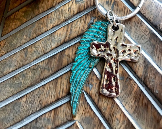Turquoise Wing, Silver Cross Necklace